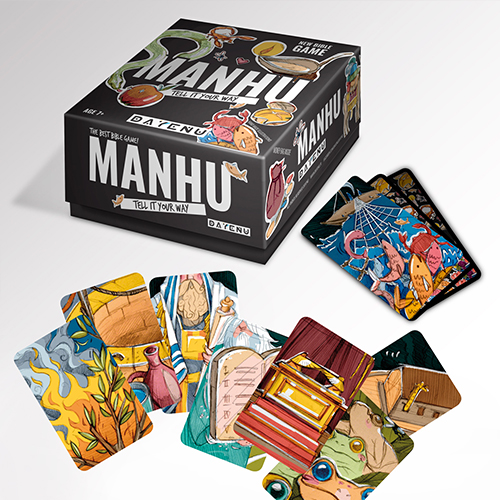 MANHU to gra biblijna projektu DAYENU! Ponad 50 kart z niezwykłymi biblijnymi ilustracjami nasuwa różne skojarzenia. Nazywaj je po swojemu i wygraj talenty!